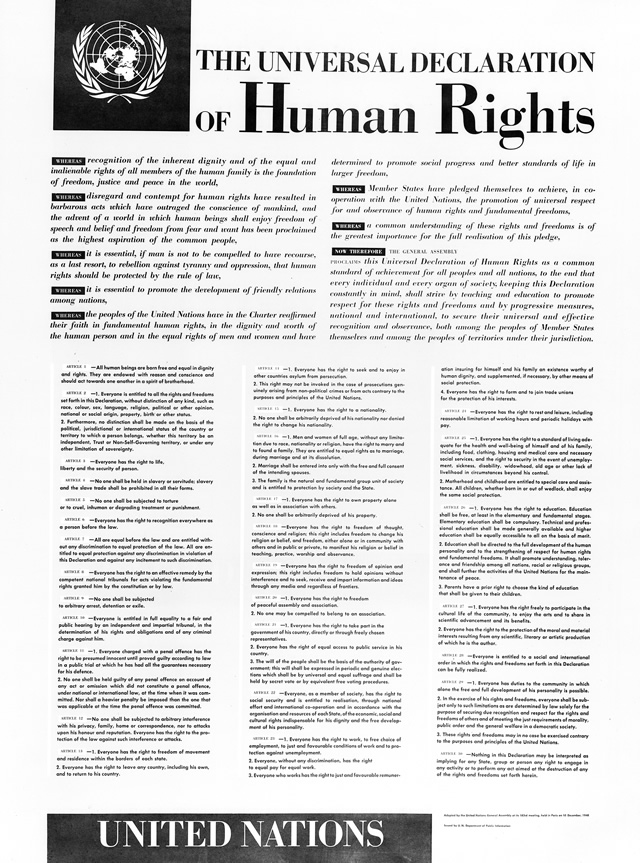 English version of a poster depicting the Universal Declaration of Human Rights. The Declaration was adopted and proclaimed by United Nations General Assembly resolution 217 A III of 10 December 1948.