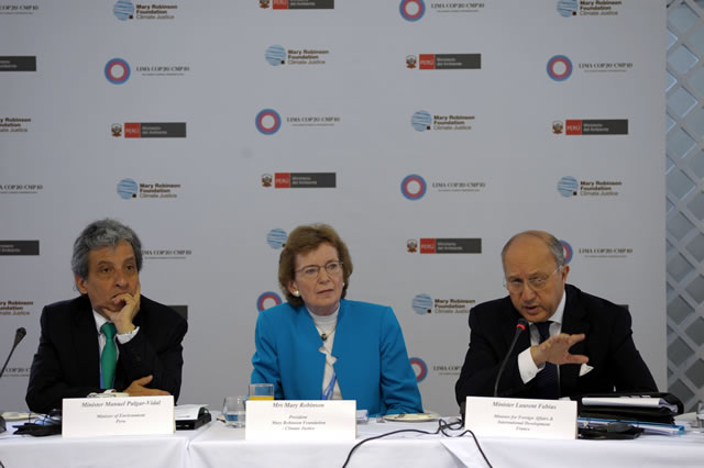 COP President, Minister Pulgar Vidal, Mary Robinson and Minister Laurent Fabius