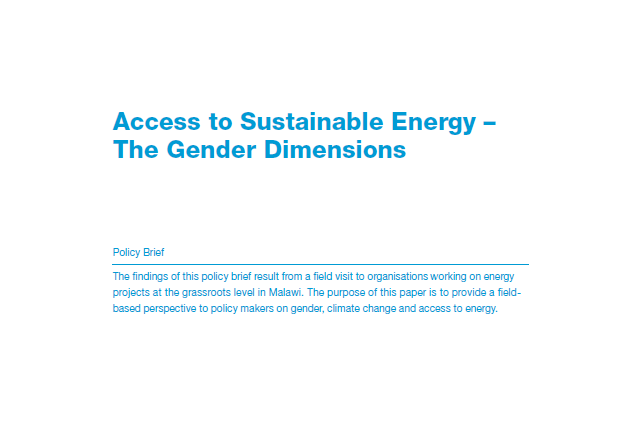 Policy Brief: Access to Sustainable Energy – The Gender Dimensions