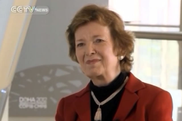 China Central Television Interview with Mary Robinson at COP18 in Doha