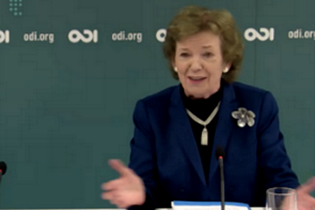 Mary Robinson delivers Keynote Address on Business, Finance and Cities: Climate Action for Paris at ODI Global Challenges Event