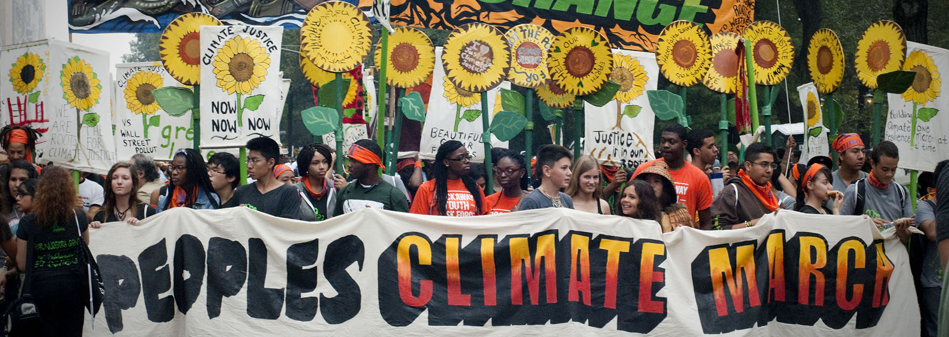 Participants at the start of the People's Climate March in New York, USA, on 21 September 2014.   Held on the Sunday before the UN Climate Summit in September 2014, the series of climate marches across the world was the biggest demonstration on climate change in history. Together, the participants at the marches – among them young people, veteran activists, politicians, scientists, religious leaders and small island representatives – called on the leaders attending the Summit to take urgent steps to actively address climate change. Elders Mary Robinson (who also serves as the UN Secretary-General's Special Envoy on Climate Change) and Gro Harlem Brundtland attended the Climate March in New York to lend their voices for action #NowNotTomorrow.  Credit: Neville Elder/The Elders