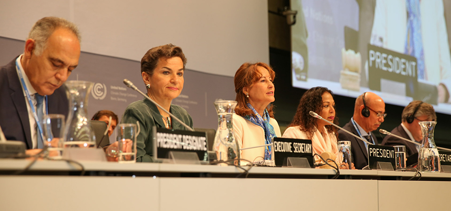 Panelists during the opening plenary (L-R): Salaheddine Mezouar, Minister of Foreign Affairs and Cooperation, Morocco, and COP 22/CMP 12 President-Designate; UNFCCC Executive Secretary Christiana Figueres; Ségolène Royal, COP 21/CMP 11 President; June Budhooram, COP Secretary; and SBSTA Chair Carlos Fuller, Belize