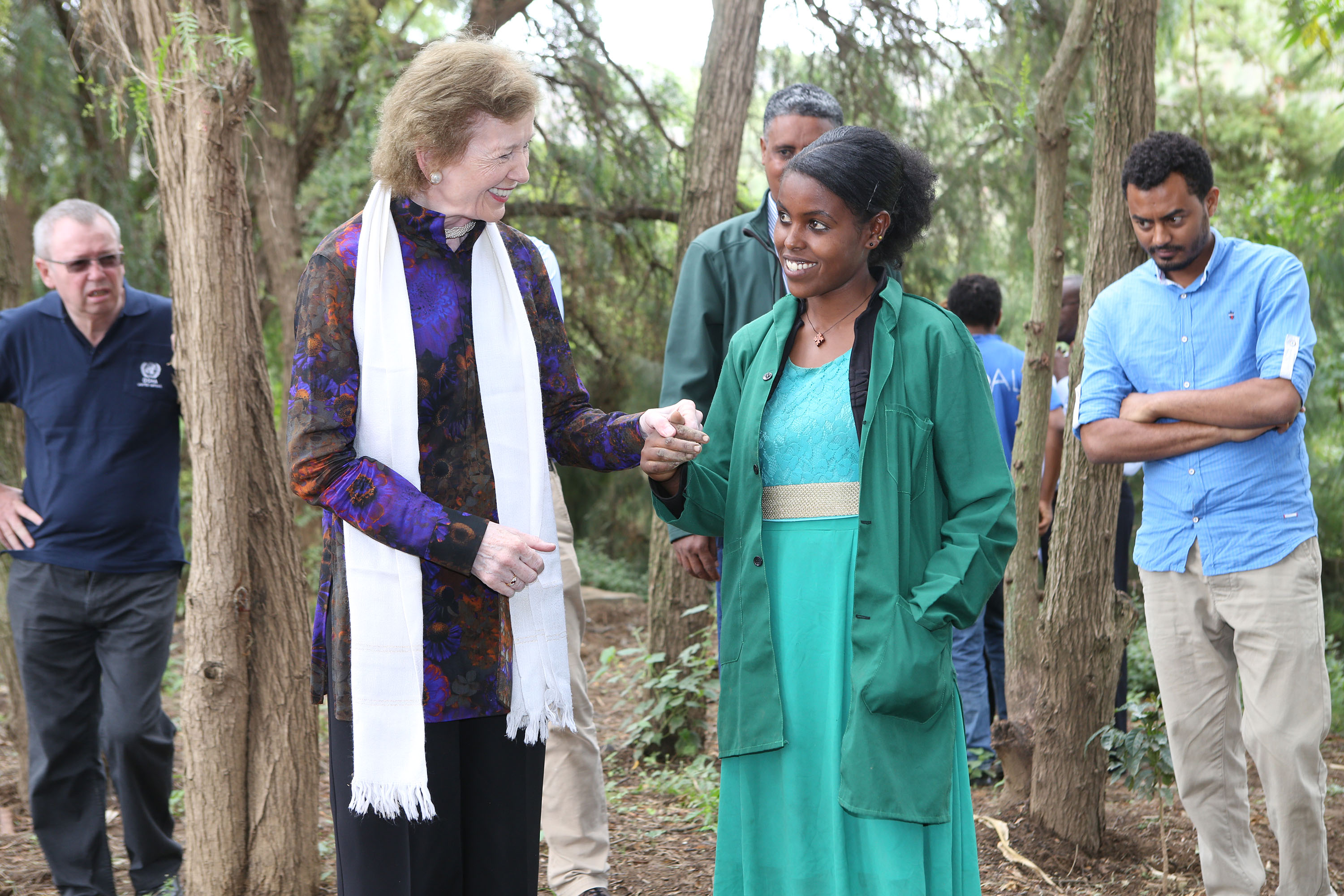 67/2016.   The UN Special Envoy for El Nino and Climate Mary Robinson visiting Ethiopia where she visited the Irish Aid program, the Integrated WatershedManagement Programme )where she planted a tree), the Concern Worldwide Ethiopia's CMAM(Community Management of Acute Malnutrition) programme and the Women's Cooperative Grain Bank programme.  Our photograph shows  (With Compliments)  Photograph Liam Burke/Press 22