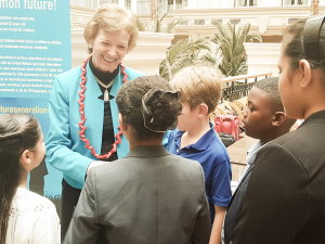 Mary Robinson meeting Tyra at the Landmark